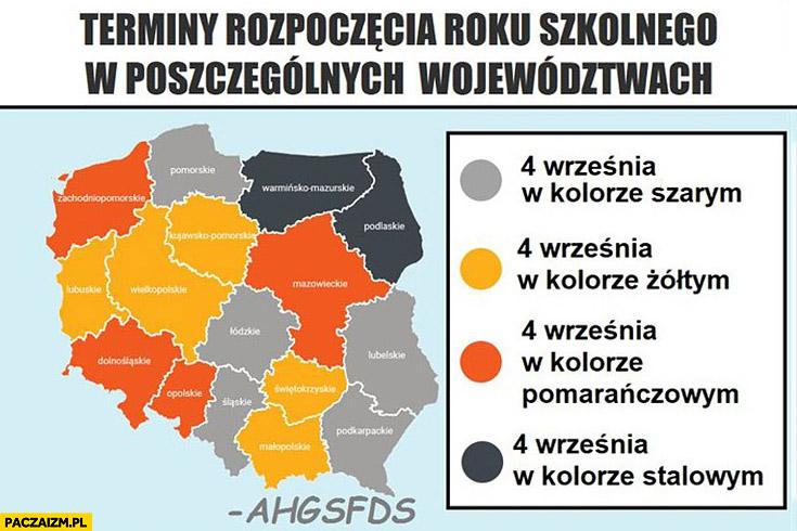 Terminy rozpoczęcia roku szkolnego w poszczególnych województwach mapka różne kolory