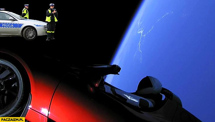 Tesla roadster na orbicie policja pomiar prędkości radar SpaceX Falcon heavy astronauta kosmonauta