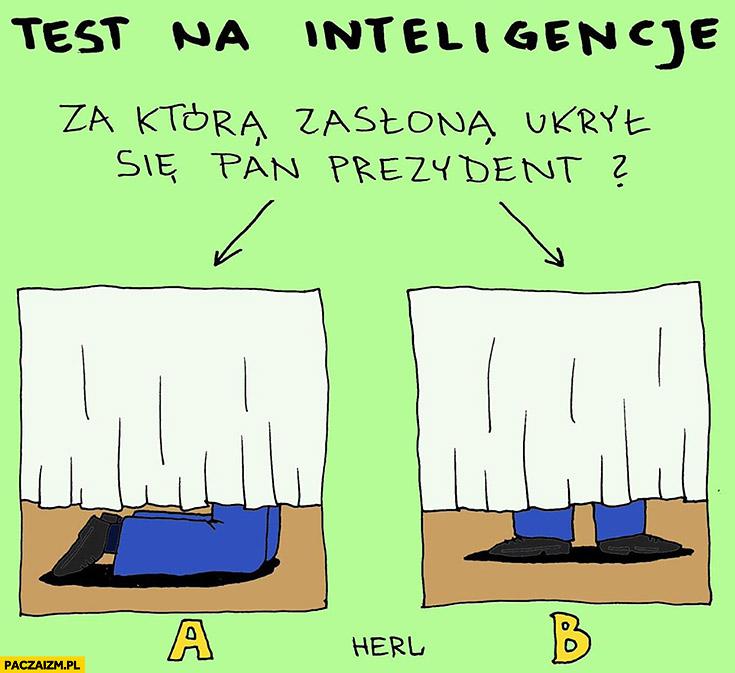 Test na inteligencję: za którą zasłoną ukrył się Pan Prezydent? Stoi czy klęczy na kolanach Herl