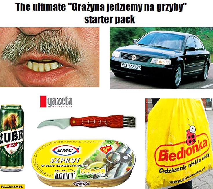The ultimate Grażyna jedziemy na grzyby starter pack: Janusz, Passat, Żubr, biedronka