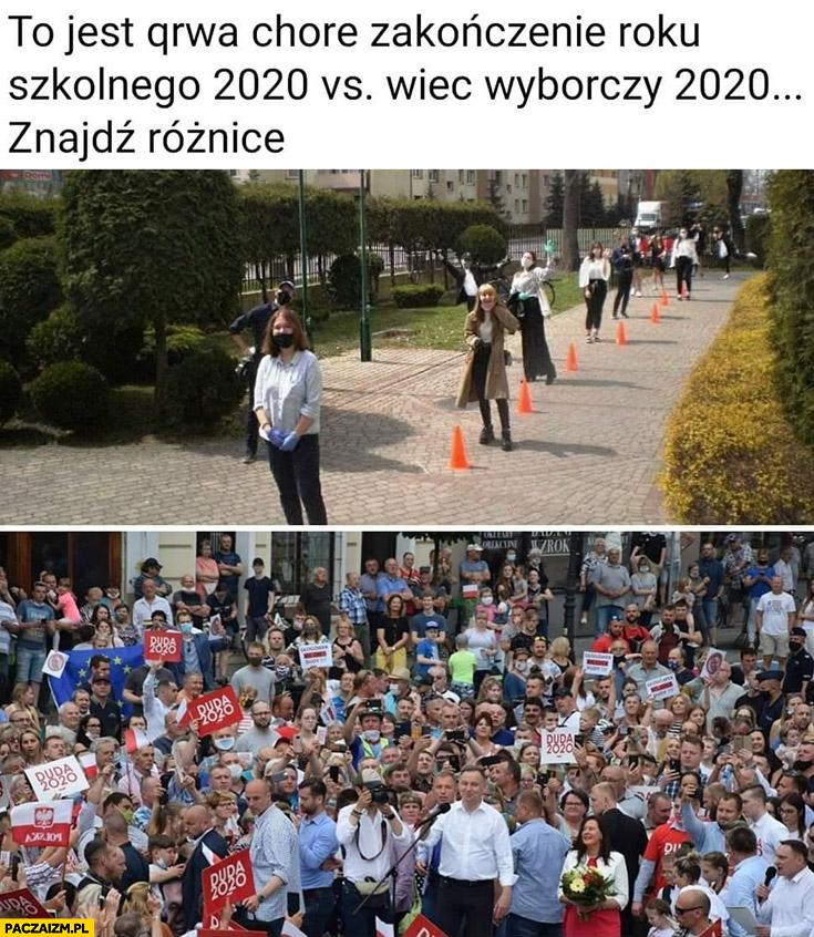 To jest chore zakończenie roku szkolnego 2020 vs wiec wyborczy 2020 porównanie znajdź różnice
