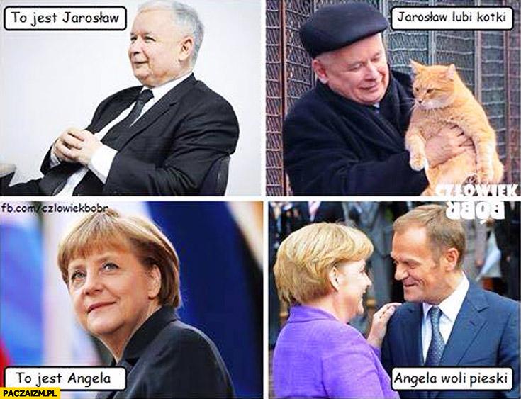 To jest Jarosław lubi kotki, to jest Angela woli pieski Tusk