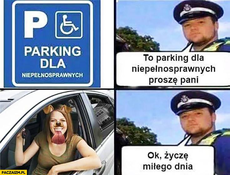 To jest parking dla niepełnosprawnych snapchat pies ok życzę miłego dnia