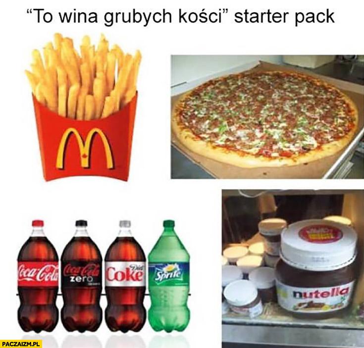 """""""To wina grubych kości"""" starter pack: Cola, McDonald's, pizza, Nutella"""