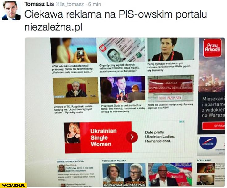 """Tomasz Lis ciekawa reklama na PiSowskim portalu niezależna """"Ukrainian single women"""" samozaoranie"""