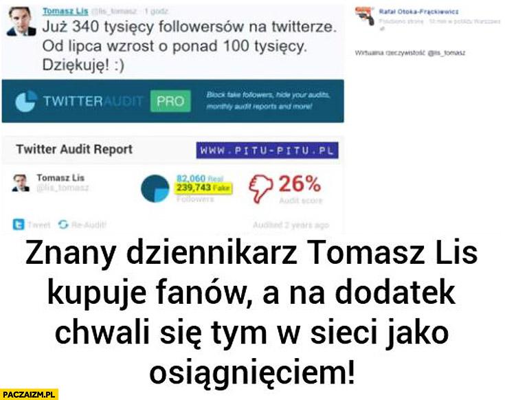 Tomasz Lis kupuje fanów followersów na twitterze