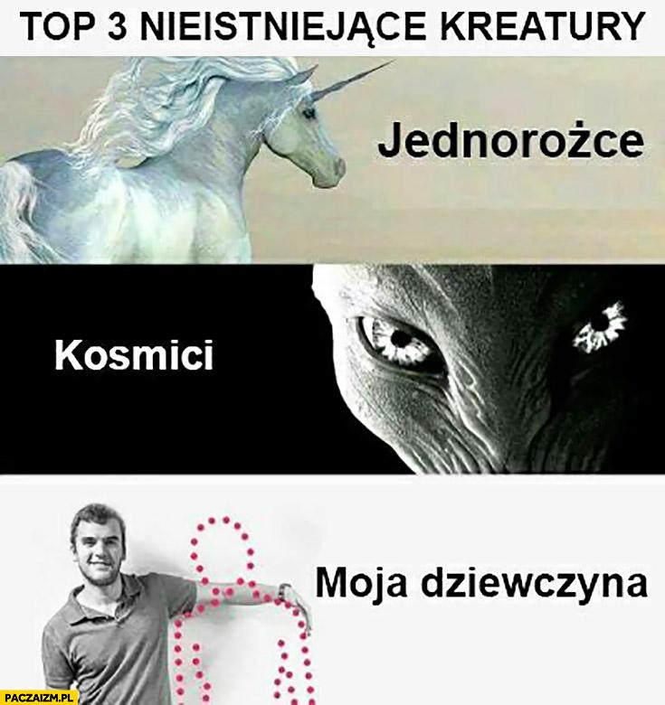 Top 3 nieistniejące kreatury: jednorożce, kosmici, moja dziewczyna