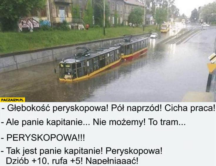 Tramwaj łódź podwodna głębokość peryskopowa, panie kapitanie nie możemy to tramwaj