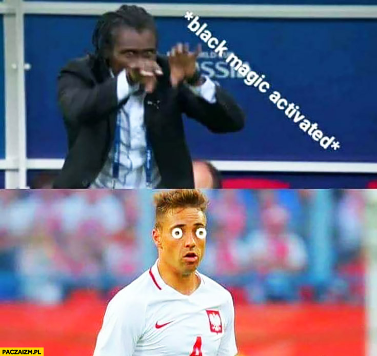 Trener Senegalu czarna magia aktywowana Cionek oczy zahipnotyzowany mecz Polska Senegal mundial