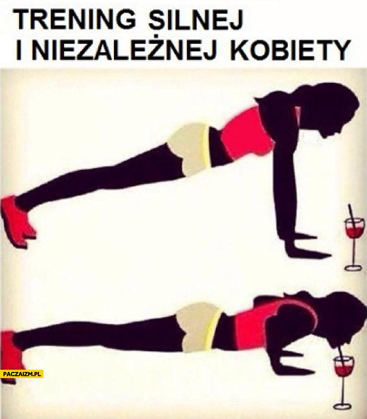 Trening silnej i niezależnej kobiety pompki wino drink