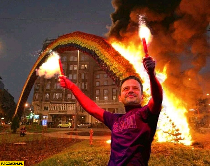 Trzaskowski podpala tęczę na placu zbawiciela przeróbka photoshop