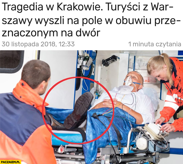 Turyści z Warszawy wyszli na pole w obuwiu przeznaczonym na dwór tragedia w Krakowie