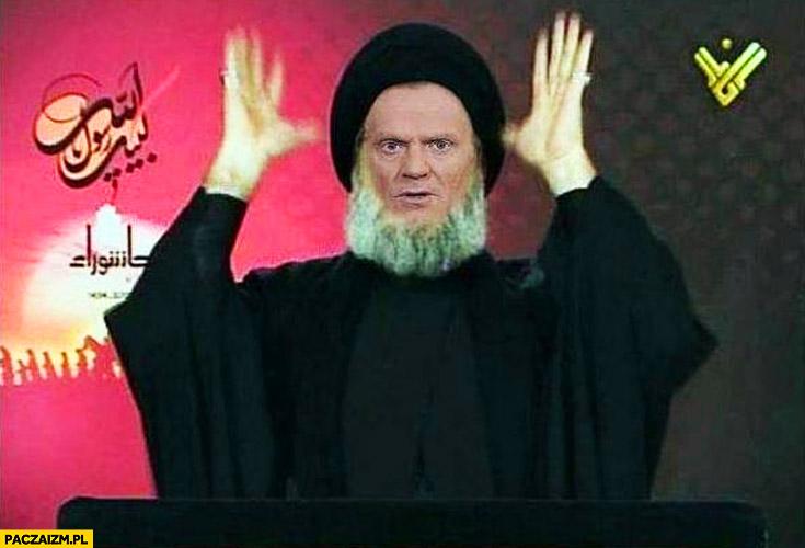 Tusk arab muzułmanin imam w telewizji