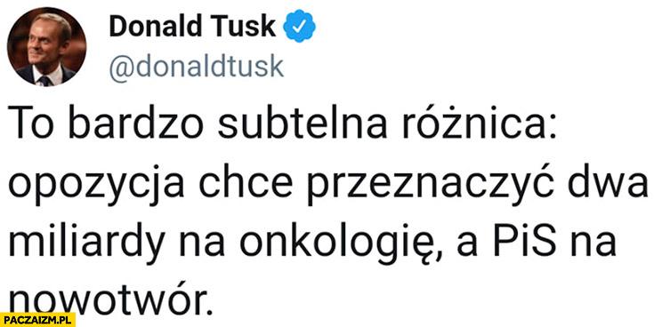 Tusk bardzo subtelna różnica: opozycja chce przeznaczyć dwa miliardy na onkologię a PiS na nowotwór TVP tweet twitter