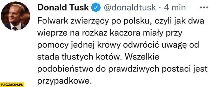 Tusk folwark zwierzęcy po polsku: dwa wieprze na rozkaz kaczora miały przy pomocy jednej krowy odwrócić uwagę od stada tłustych kotów