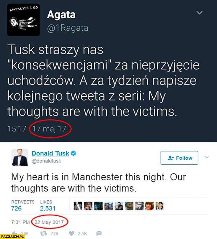 """Tusk straszy konsekwencjami za nieprzyjęcie uchodźców a za tydzień napisze kolejnego tweeta z serii """"My thoughts are with the victims"""" twitter"""