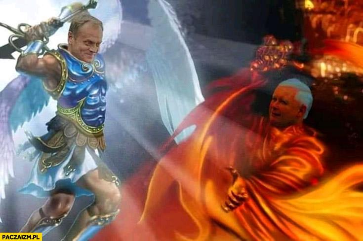Tusk vs Kaczyński anioł diabeł archanioł heroes of might and magic 3