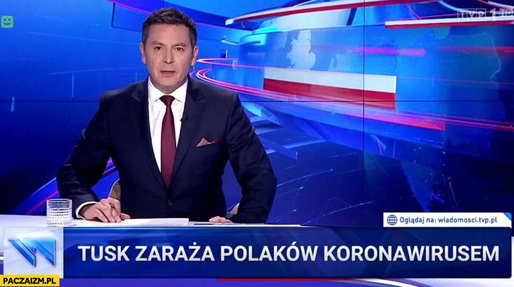 Tusk zaraża Polaków koronawirusem pasek Wiadomości TVP