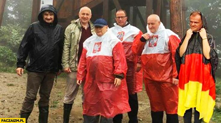 Tusk złoczyńca Niemiecka flaga Kaczyński płaszcz kurtka peleryna przeciwdeszczowa flaga polski przeróbka