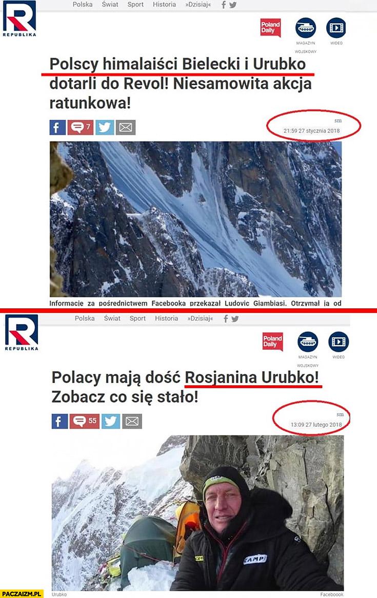 TV Republika o Urubko: Polscy himalaiści Bielecki i Urubko dotarli do Revol vs Polacy maja dość Rosjanina Urubko