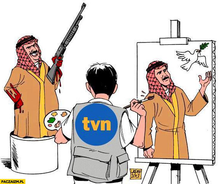 TVN portret dyktatora z gołębiem zamiast zakrwawionych rąk strzelby