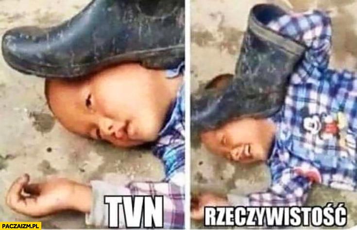 TVN vs rzeczywistość dziecko przygniatane butem samo się przygniata