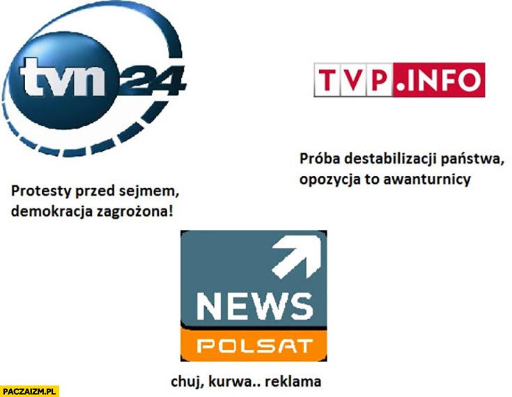 TVN24: demokracja zagrożona, TVP Info: próba destabilizacji państwa, Polsat News: kurna reklama