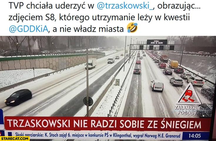 TVP chciała dowalić Trzaskowskiemu obrazując zdjęciem S8 którego utrzymanie leży w gestii GDDKiA a nie władz miasta