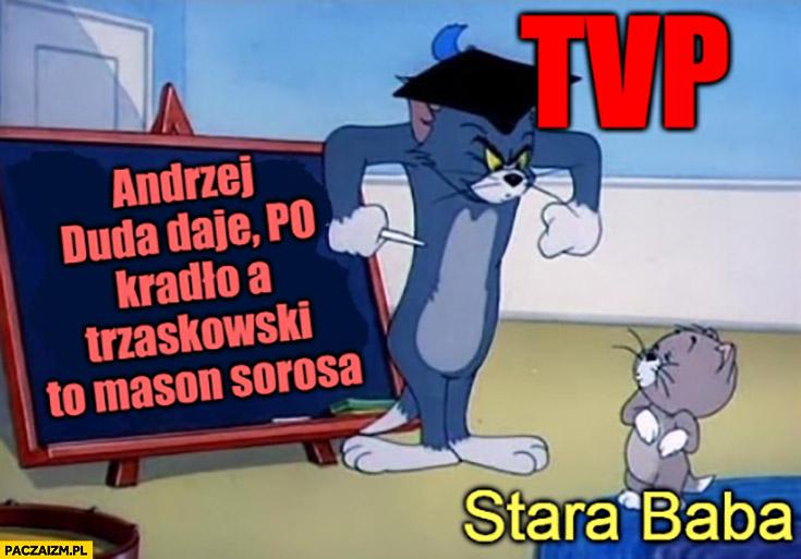 TVP edukuje starą babę Andrzej Duda daje, PO kradło a Trzaskowski to mason Sorosa