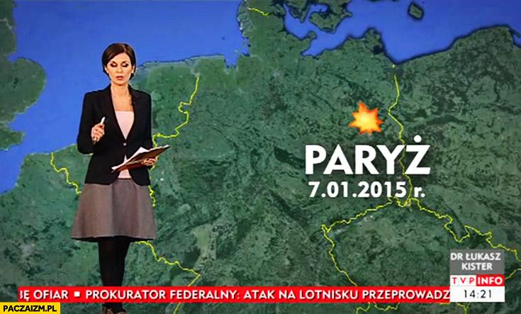 TVP info Paryż na mapie w złym miejscu Berlin fail zamachy terrorystyczne