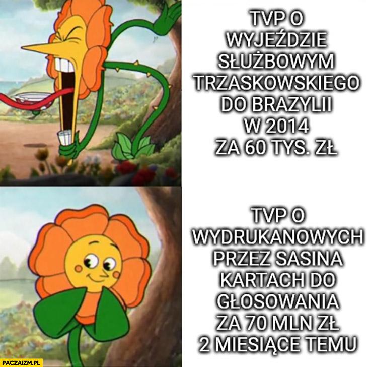 TVP o wyjeździe służbowym Trzaskowskiego do Brazylii w 2014 vs TVP o kartach Sasina za 70 milionów 2 miesiące temu kwiatek