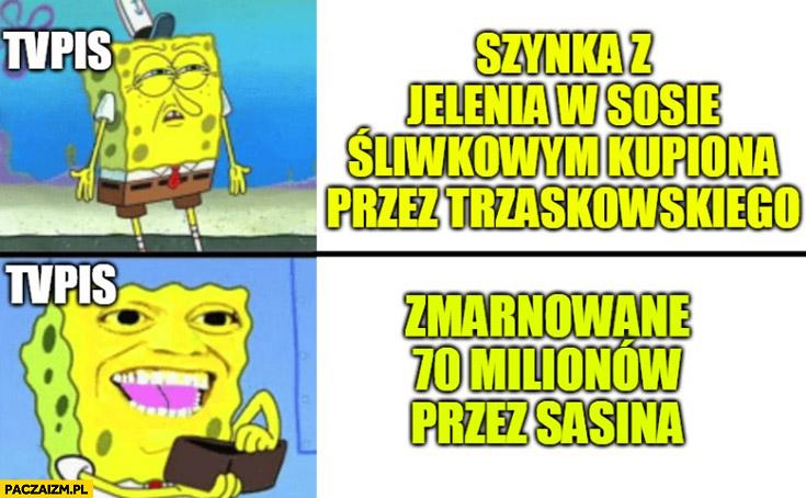TVP reakcja szynka kupiona przez Trzaskowskiego vs zmarnowane 70 milionów przez Sasina Spongebob