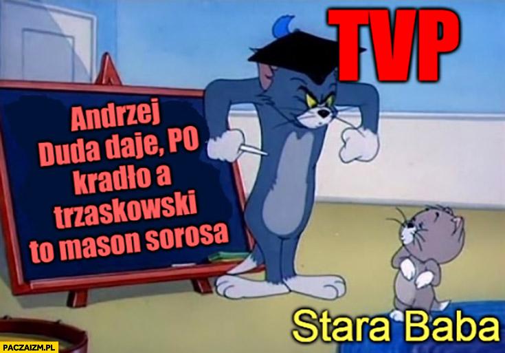 TVP TVPiS: Andrzej Duda daje, PO kradło, a Trzaskowski to mason Sorosa uczy starą babę