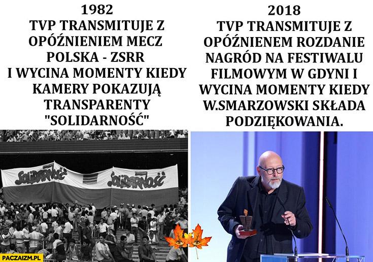 TVP w 1982 2018 porównanie transmisja z opóźnieniem rozdania nagród na festiwalu filmowym wycięty Smarzowski