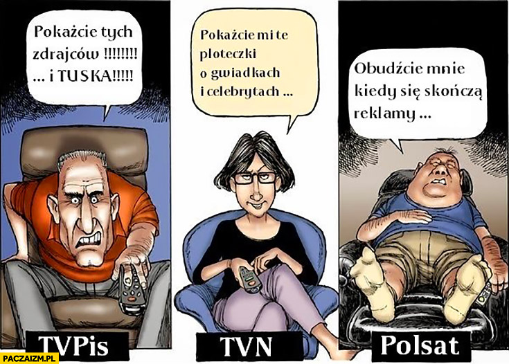 TVPiS pokażcie tych zdrajców i Tuska, TVN pokażcie ploteczki, Polsat obudźcie mnie kiedy reklamy się skończą porównanie