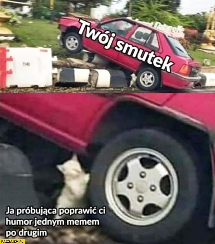 Twój smutek vs ja próbująca poprawić Ci humor jednym memem po drugim kotek przesuwa samochód