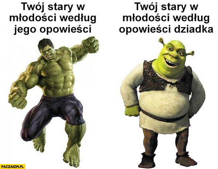 Twój stary w młodości według jego opowieści Hulk, Twój stary w młodości według opowieści dziadka Shrek
