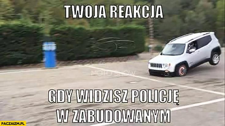 Twoja reakcja gdy widzisz policję w obszarze zabudowanym ostro hamuje