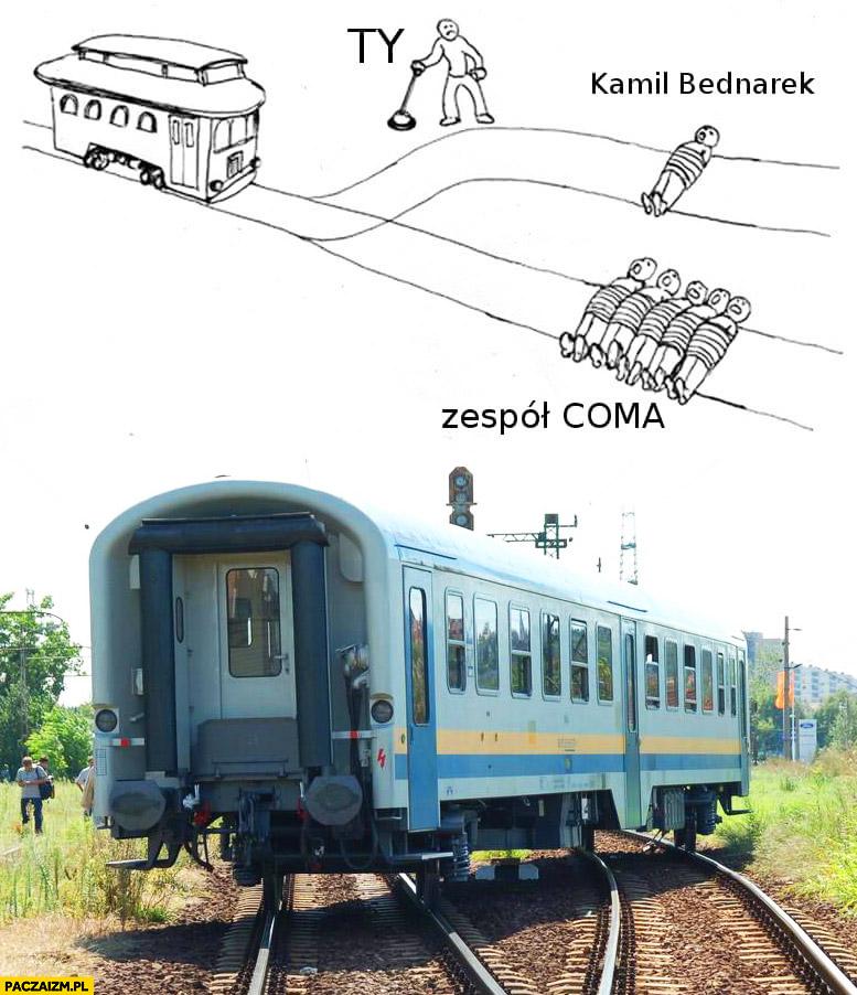 Ty, Kamil Bednarek, zespół Coma. Komu uratować życie pociąg zwrotnica przełącznik