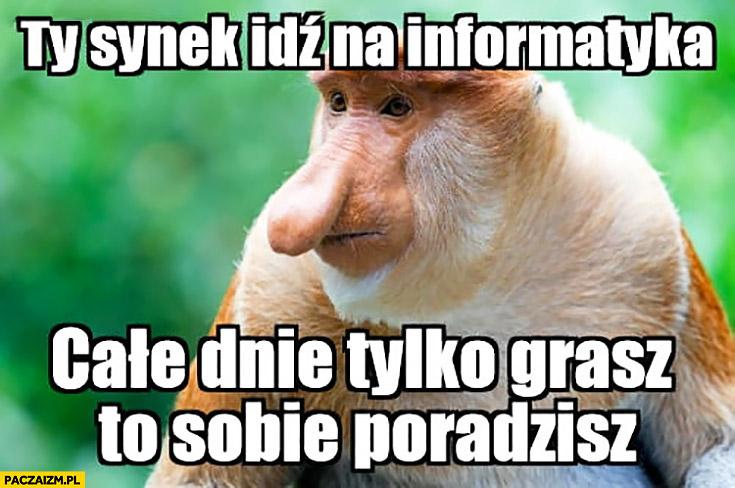 Ty synek idź na informatyka, całe dnie tylko grasz to sobie poradzisz typowy Polak nosacz małpa