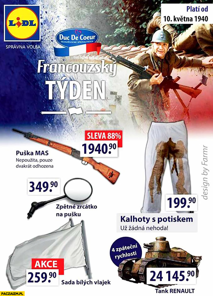 Tydzień francuski w Lidlu biała flaga obsrane gacie Druga Wojna Światowa
