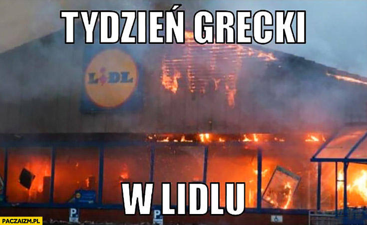 Tydzień Grecki w Lidlu pożar pali się
