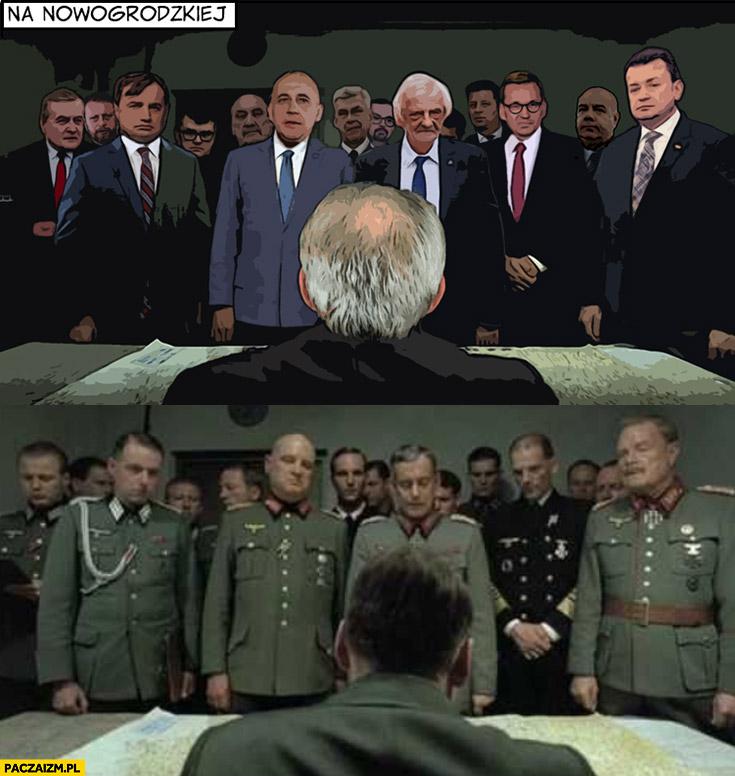 Tymczasem na Nowogrodzkiej zebranie narada spotkanie Kaczyński jak hitler w filmie upadek