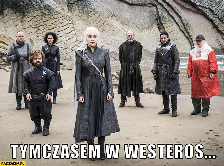Tymczasem w Westeros Kaczyński płaszcz kurtka peleryna przeciwdeszczowa flaga polski przeróbka
