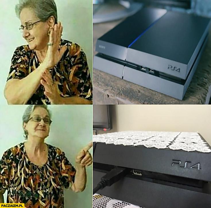 Typowa babcia obrus haftowana serwetka na konsoli PS4 PlayStation