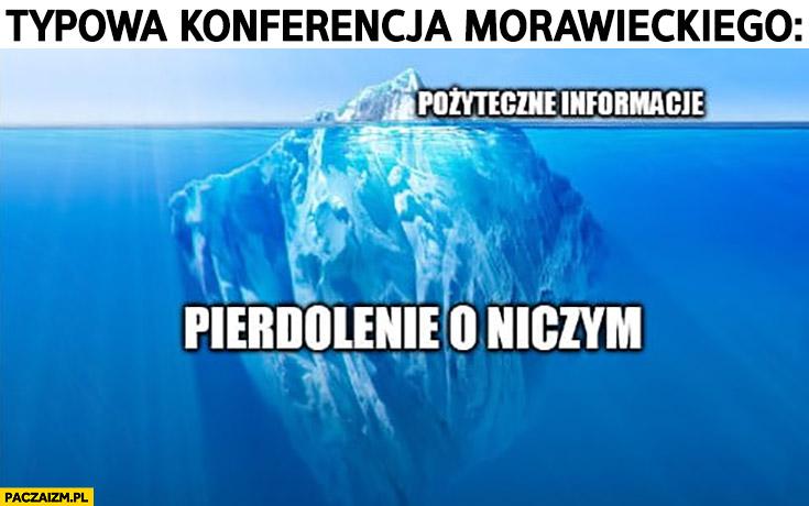 Typowa konferencja Morawieckiego góra lodowa pożyteczne informacje, pierdzielenie o niczym