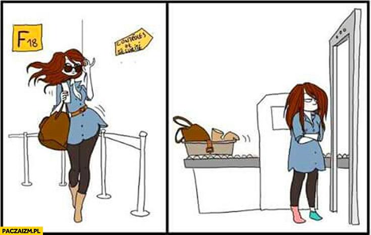 Typowa laska podczas kontroli na lotnisku