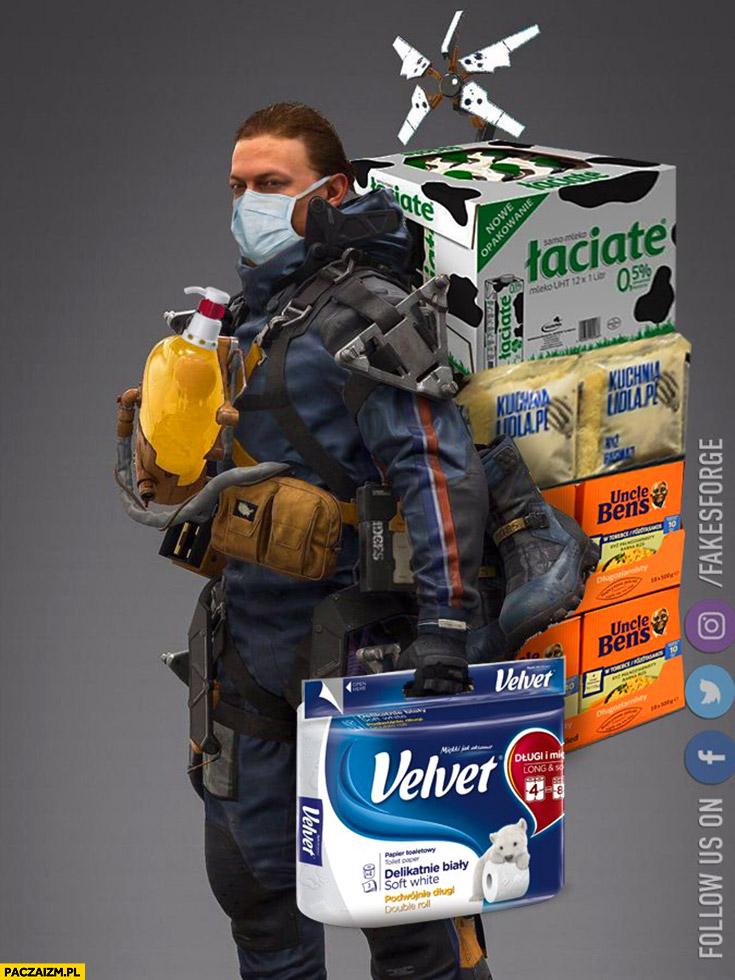 Typowe zakupy epidemia koronawirusa jak zagłada apokalipsa papier toaletowy, ryż, makaron przeróbka