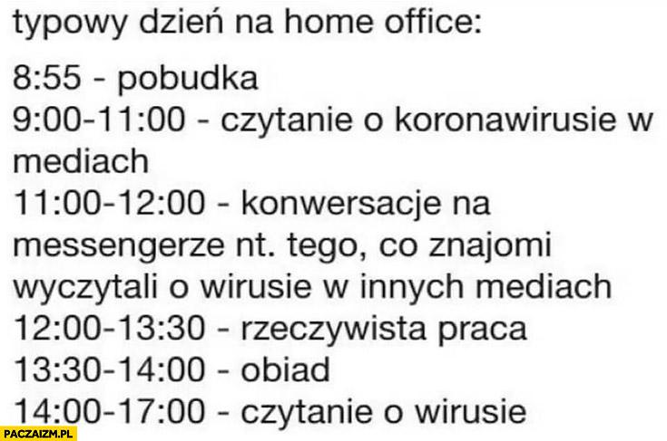 Typowy dzień home office: pobudka, czytanie o koronawirusie, konwersacje co inni wyczytali, praca, obiad, znowu czytanie o wirusie