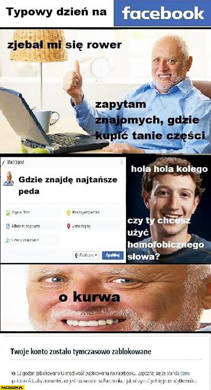 """Typowy dzień na facebooku: """"gdzie znajdę najtańsze pedały?"""" Hola hola kolego, czy Ty chcesz użyć homofobicznego słowa? Konto zablokowane Zuckerberg Dziwny pan ze stocku"""